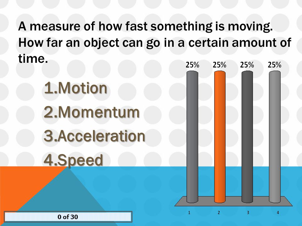 A measure of how fast something is moving.How far an object can go in a certain amount of time.