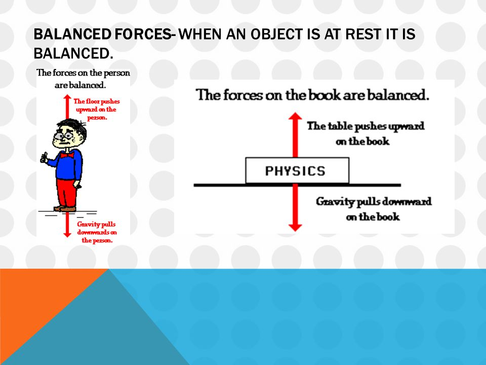 BALANCED FORCES- WHEN AN OBJECT IS AT REST IT IS BALANCED.