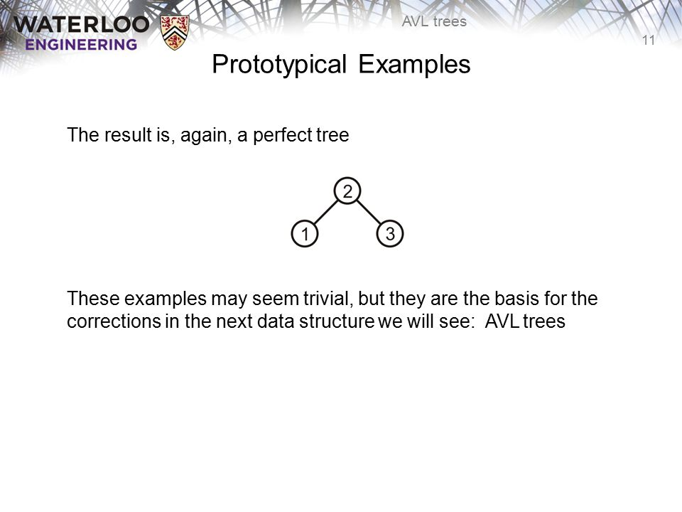 11 AVL trees Prototypical Examples The result is, again, a perfect tree These examples may seem trivial, but they are the basis for the corrections in
