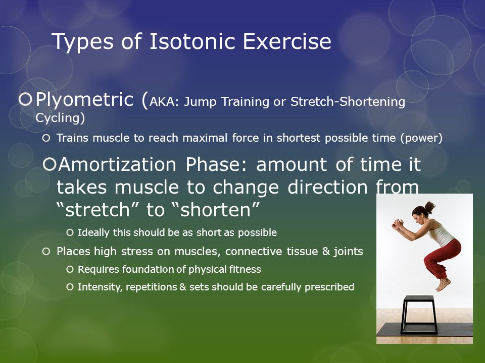 Types of Isotonic Exercise  Plyometric ( AKA: Jump Training or Stretch-Shortening Cycling)  Trains muscle to reach maximal force in shortest possibl