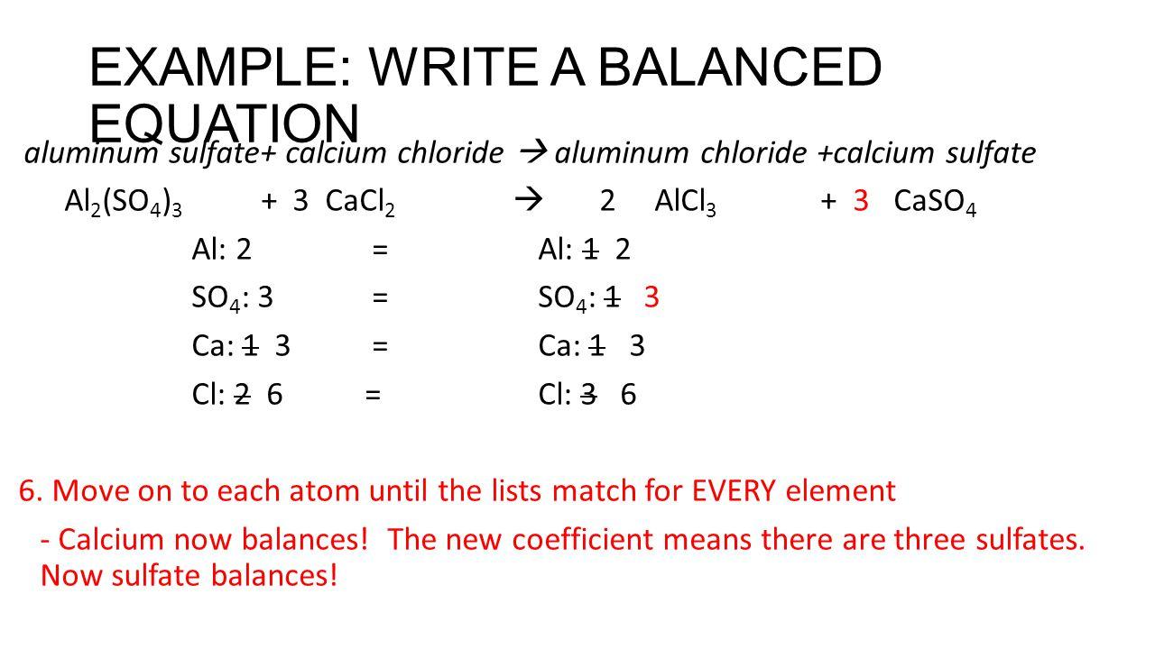 EXAMPLE: WRITE A BALANCED EQUATION aluminum sulfate+ calcium chloride  aluminum chloride +calcium sulfate Al 2 (SO 4 ) 3 + 3 CaCl 2  2 AlCl 3 + 3 CaSO 4 Al: 2 = Al: 1 2 SO 4 : 3 = SO 4 : 1 3 Ca: 1 3 =Ca: 1 3 Cl: 2 6= Cl: 3 6 6.