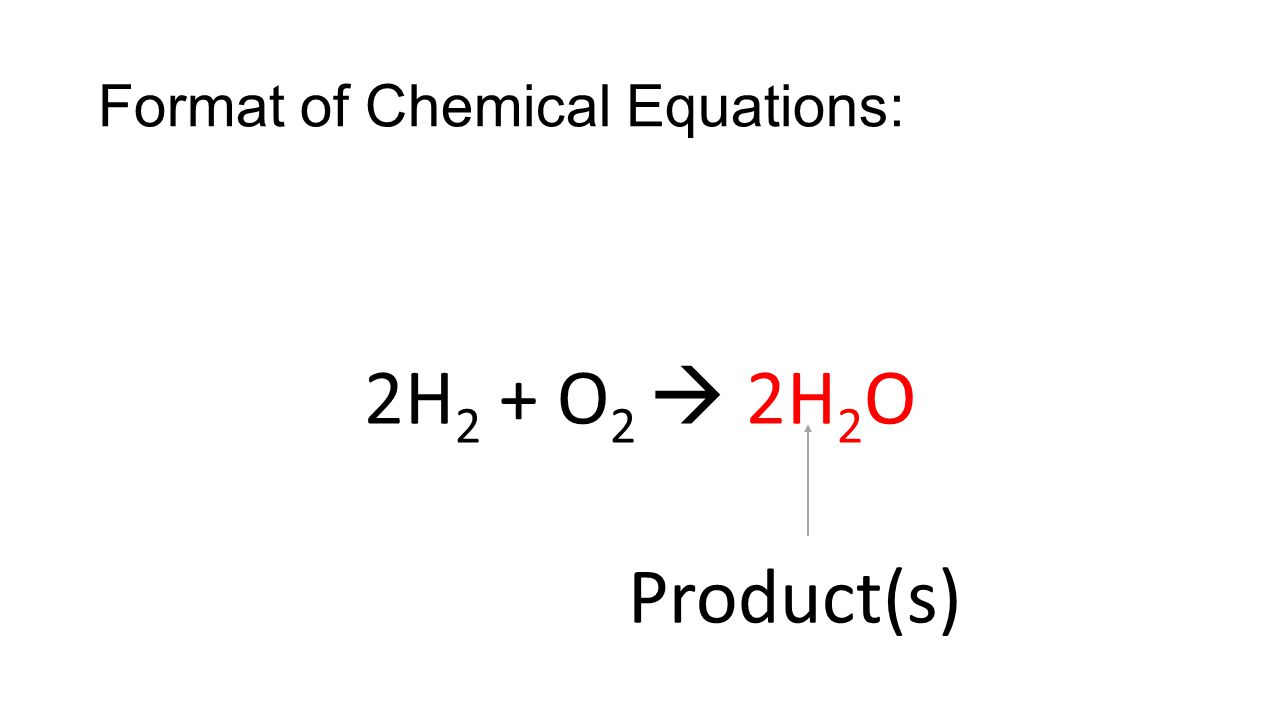 Format of Chemical Equations: 2H 2 + O 2  2H 2 O Yield(s)