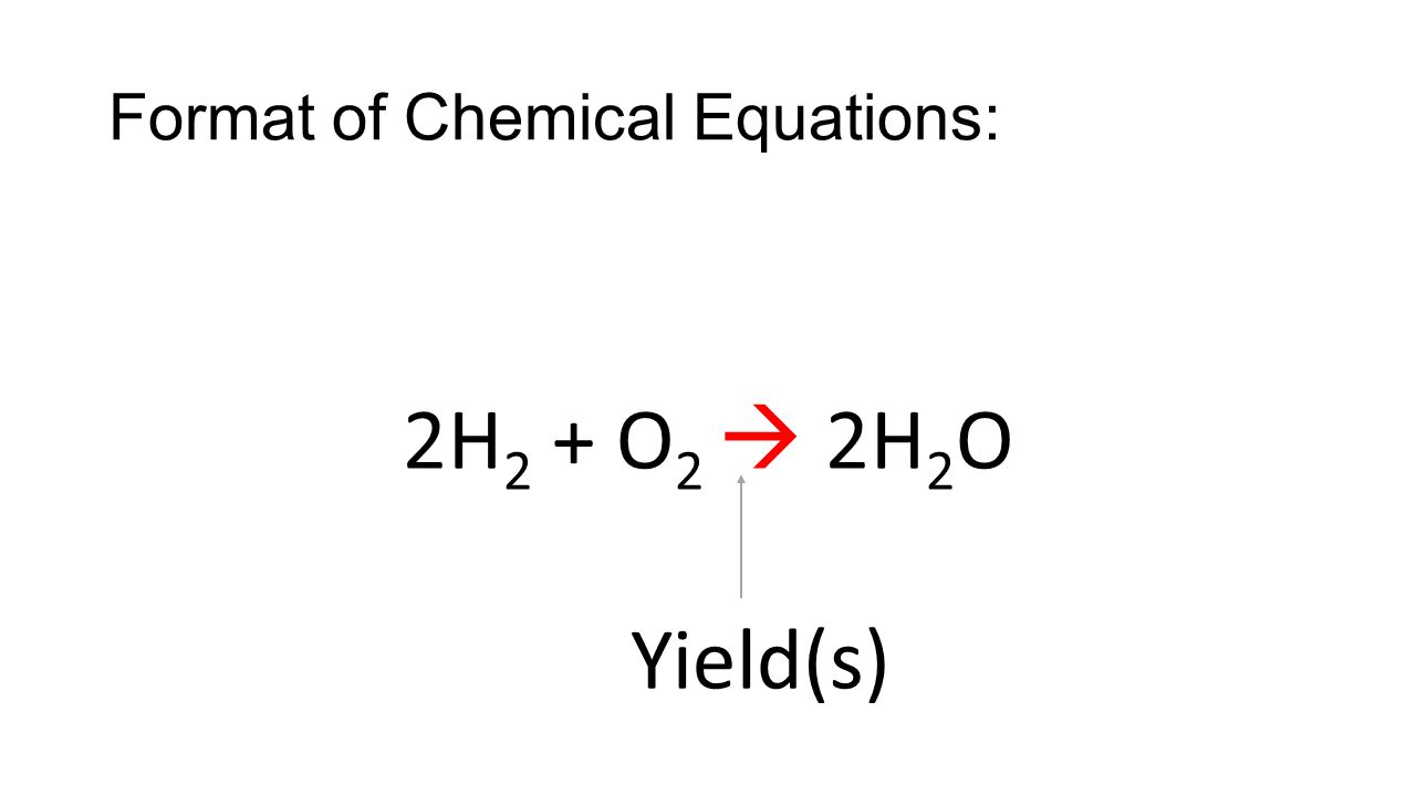 Format of Chemical Equations: 2H 2 + O 2  2H 2 O Yield(s)