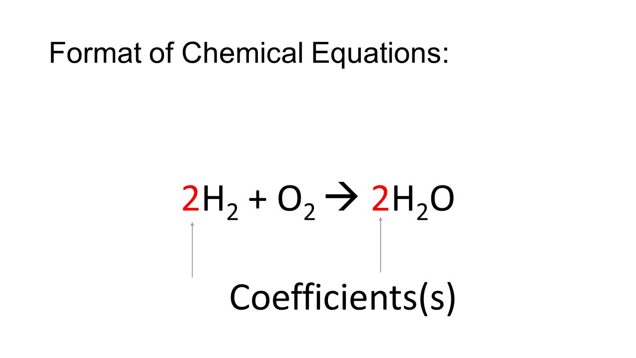 Coefficients Large numbers in front Give how many molecules of each substance are in the equation Subscripts Small numbers after an element Give how many of each atom are needed in the formula Format of Chemical Equations: