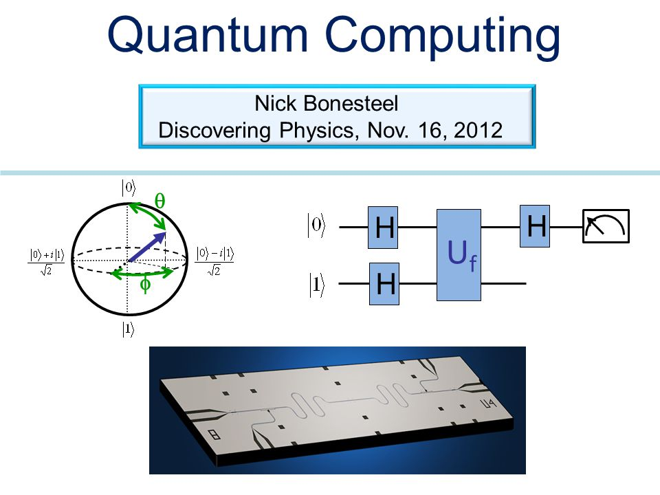 Quantum Computing   UfUf H H H Nick Bonesteel Discovering Physics, Nov. 16, 2012