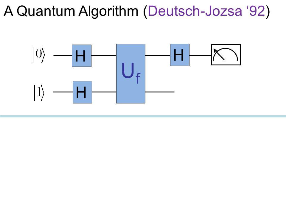 A Quantum Algorithm (Deutsch-Jozsa '92) UfUf H H H