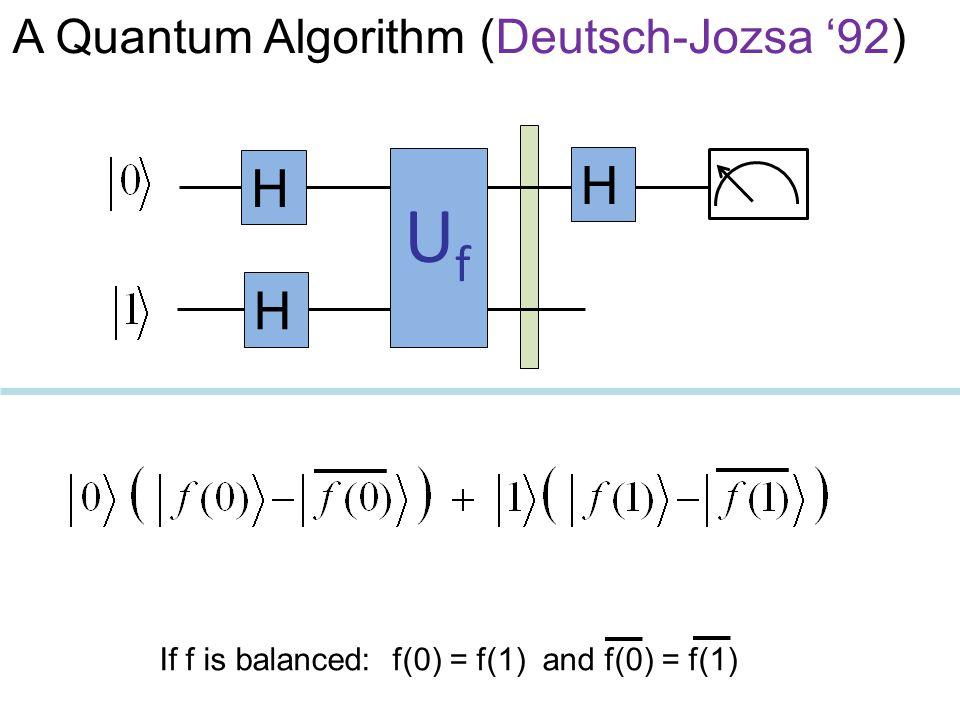 UfUf H H H If f is balanced: f(0) = f(1) and f(0) = f(1) A Quantum Algorithm (Deutsch-Jozsa '92)