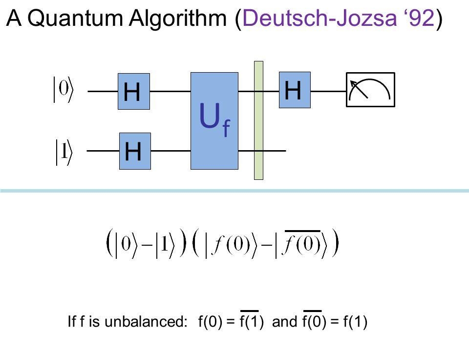 UfUf H H H If f is unbalanced: f(0) = f(1) and f(0) = f(1) A Quantum Algorithm (Deutsch-Jozsa '92)