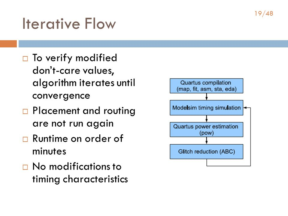 19/48 Iterative Flow  To verify modified don't-care values, algorithm iterates until convergence  Placement and routing are not run again  Runtime on order of minutes  No modifications to timing characteristics