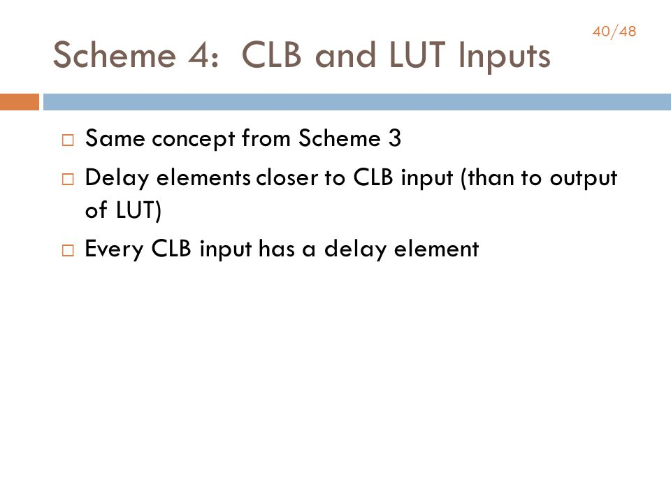40/48 Scheme 4: CLB and LUT Inputs  Same concept from Scheme 3  Delay elements closer to CLB input (than to output of LUT)  Every CLB input has a delay element