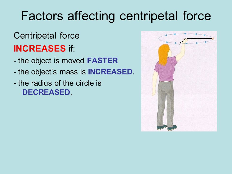 Factors affecting centripetal force Centripetal force INCREASES if: - the object is moved FASTER - the object's mass is INCREASED. - the radius of the