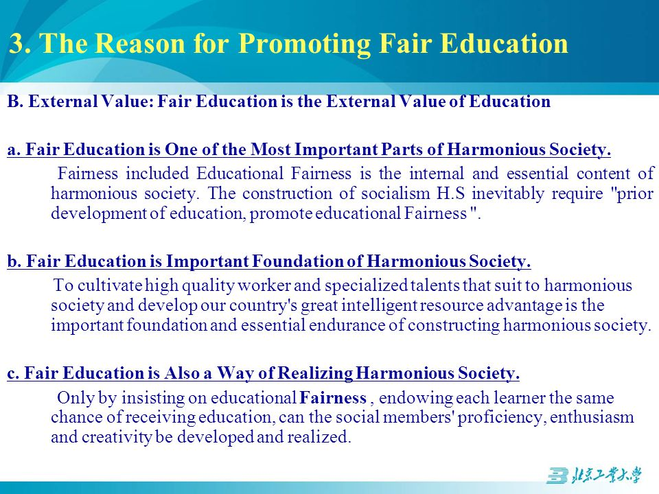 3. The Reason for Promoting Fair Education B.