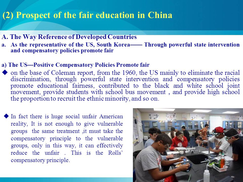 (2) Prospect of the fair education in China A.