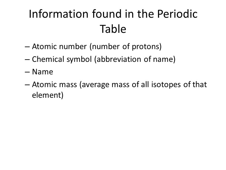 Information found in the Periodic Table – Atomic number (number of protons) – Chemical symbol (abbreviation of name) – Name – Atomic mass (average mas