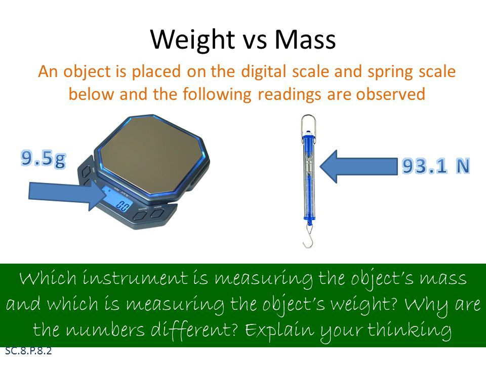 Weight vs Mass Which instrument is measuring the object's mass and which is measuring the object's weight? Why are the numbers different? Explain your