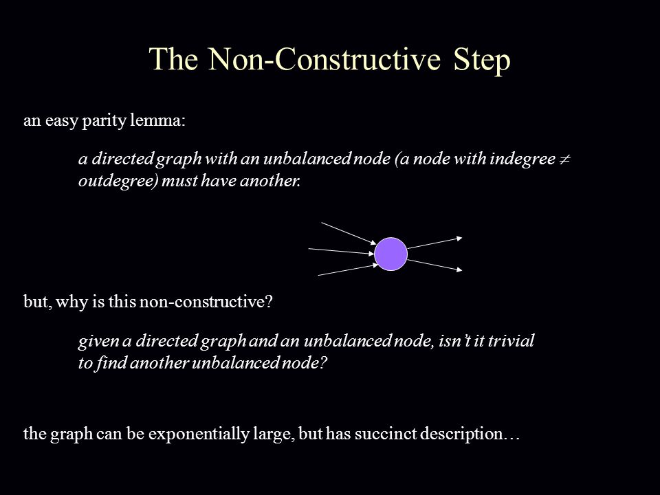 The Non-Constructive Step a directed graph with an unbalanced node (a node with indegree  outdegree) must have another.