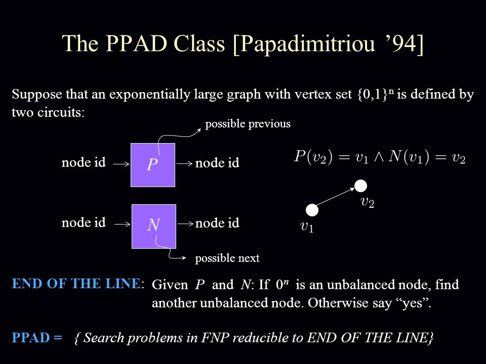 The PPAD Class [Papadimitriou '94] Suppose that an exponentially large graph with vertex set {0,1} n is defined by two circuits: P N node id END OF THE LINE: Given P and N: If 0 n is an unbalanced node, find another unbalanced node.