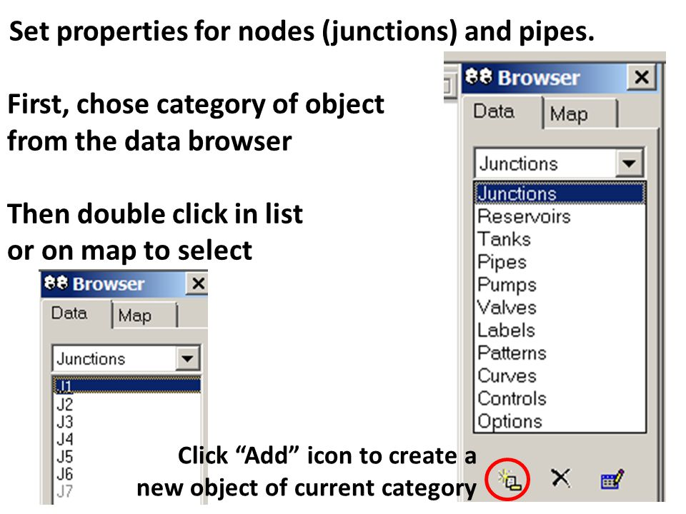 Set properties for nodes (junctions) and pipes.
