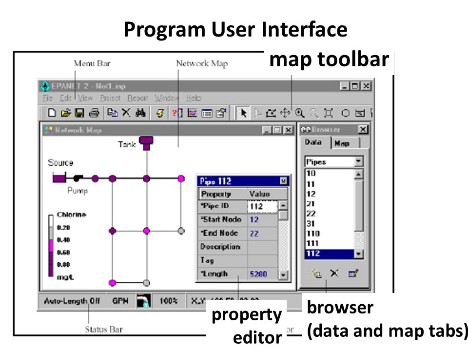 Program User Interface map toolbar browser (data and map tabs) property editor