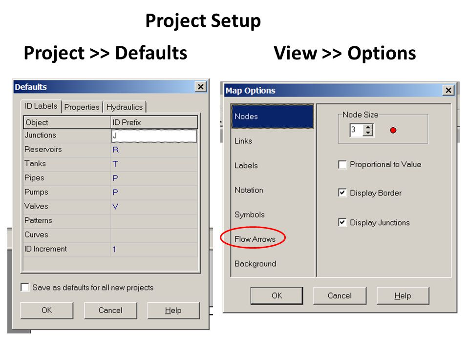 Project Setup View >> Options Project >> Defaults