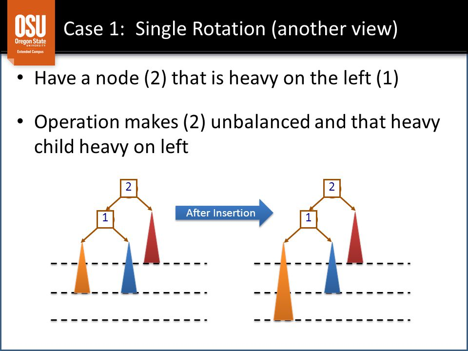 Case 1: Single Rotation (another view) 1 2 1 2 Have a node (2) that is heavy on the left (1) Operation makes (2) unbalanced and that heavy child heavy on left After Insertion