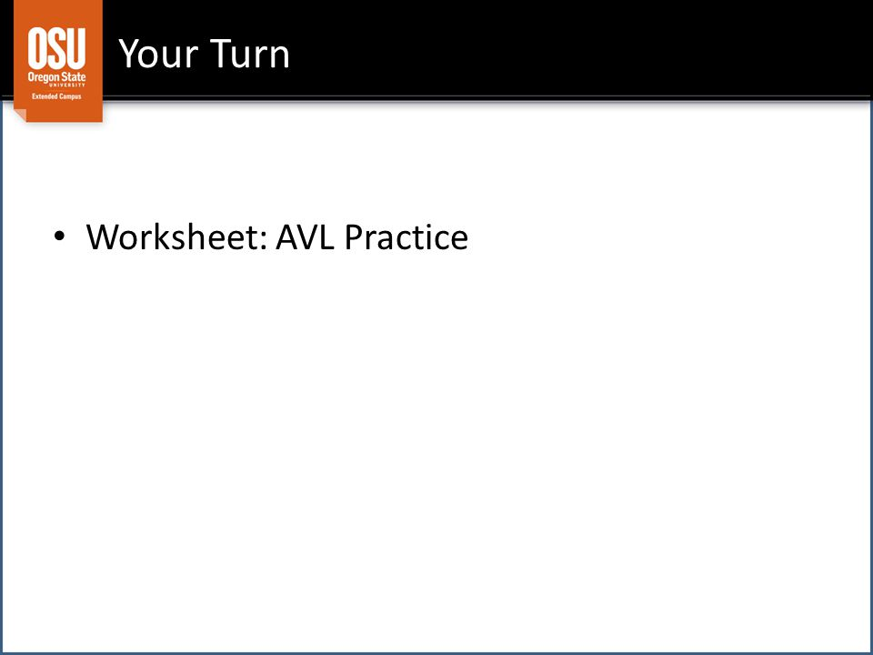 Your Turn Worksheet: AVL Practice