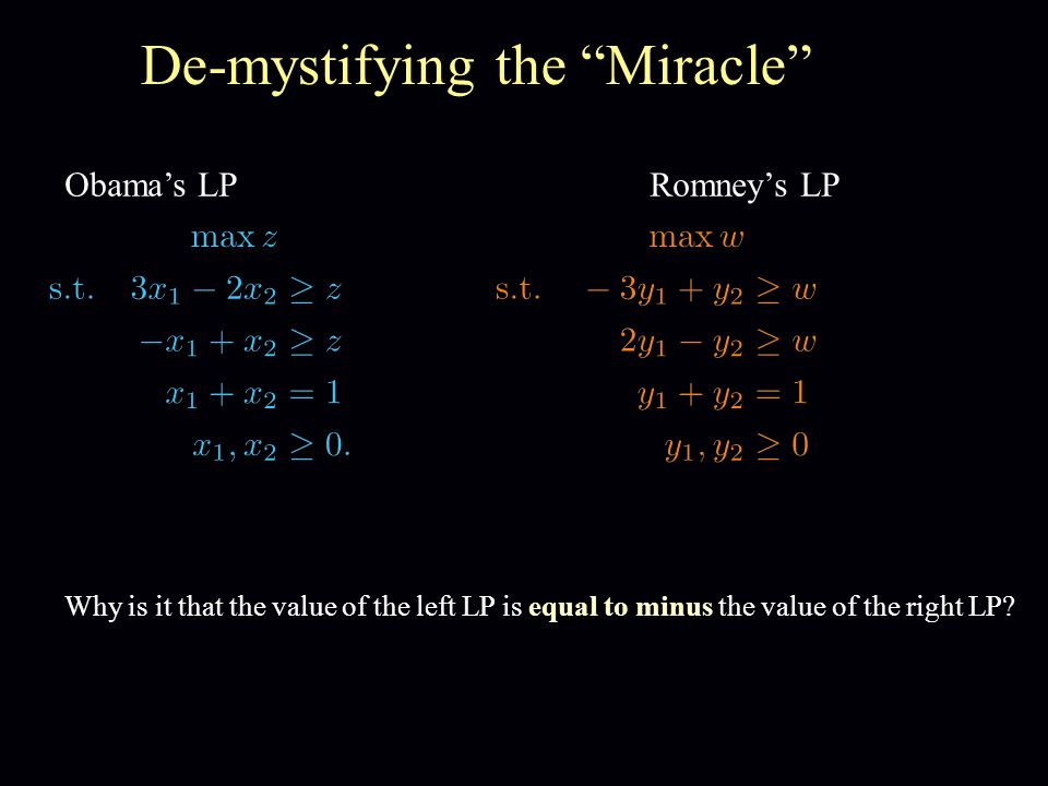 De-mystifying the Miracle Obama's LPRomney's LP Why is it that the value of the left LP is equal to minus the value of the right LP?