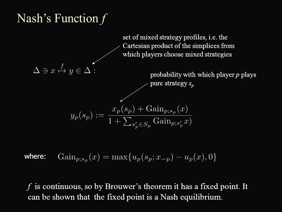 Nash's Function f where: f is continuous, so by Brouwer's theorem it has a fixed point.