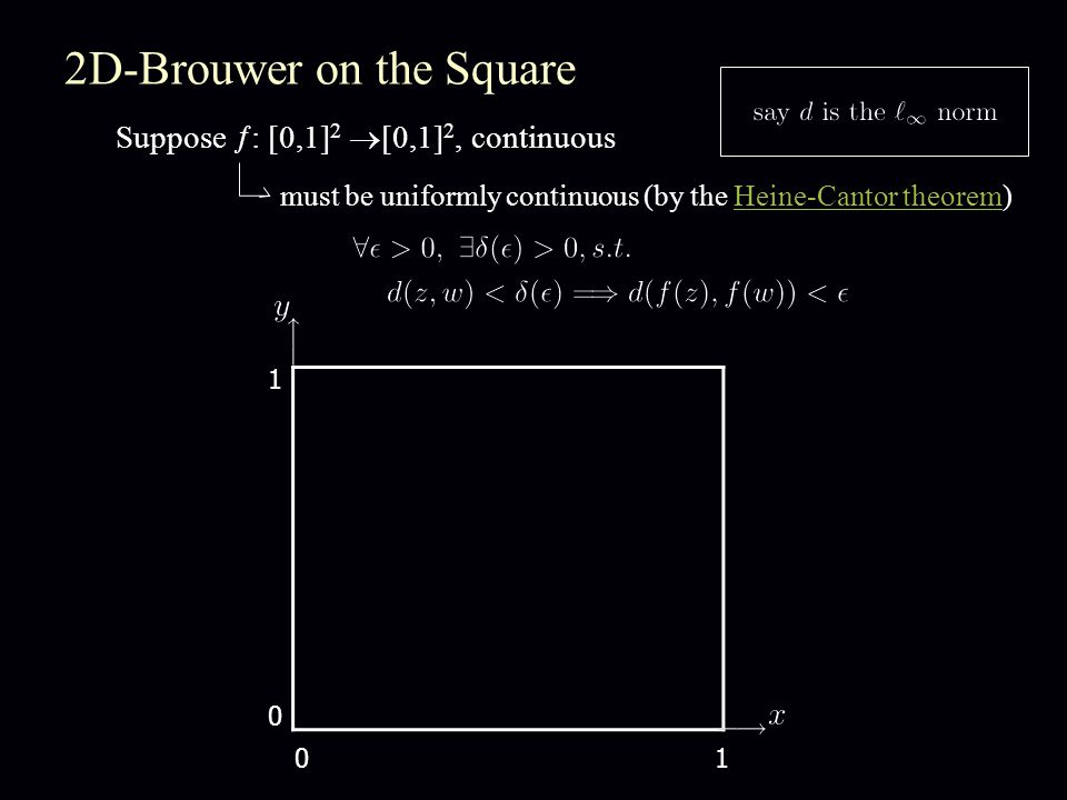 2D-Brouwer on the Square Suppose  : [0,1] 2  [0,1] 2, continuous must be uniformly continuous (by the Heine-Cantor theorem)Heine-Cantor theorem 1 01 0