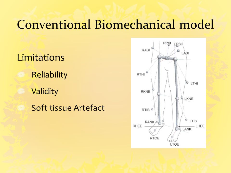Conventional Biomechanical model Limitations Reliability Validity Soft tissue Artefact