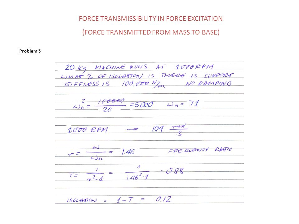 Problem 5 FORCE TRANSMISSIBILITY IN FORCE EXCITATION (FORCE TRANSMITTED FROM MASS TO BASE)