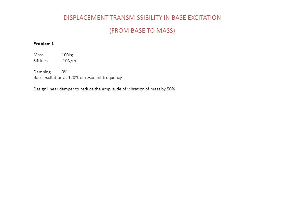 DISPLACEMENT TRANSMISSIBILITY IN BASE EXCITATION (FROM BASE TO MASS) Problem 1 Mass 100kg Stiffness 10N/m Damping0% Base excitation at 120% of resonan