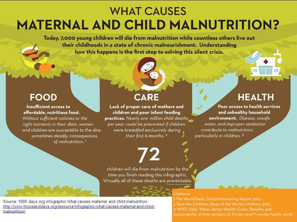 Source: 1000 days.org infographic What causes maternal and child malnutrition http://www.thousanddays.org/resource/infographic-what-causes-maternal-an