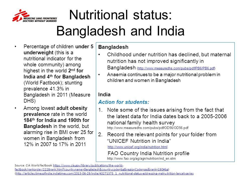 Nutritional status: Bangladesh and India Percentage of children under 5 underweight (this is a nutritional indicator for the whole community) among hi