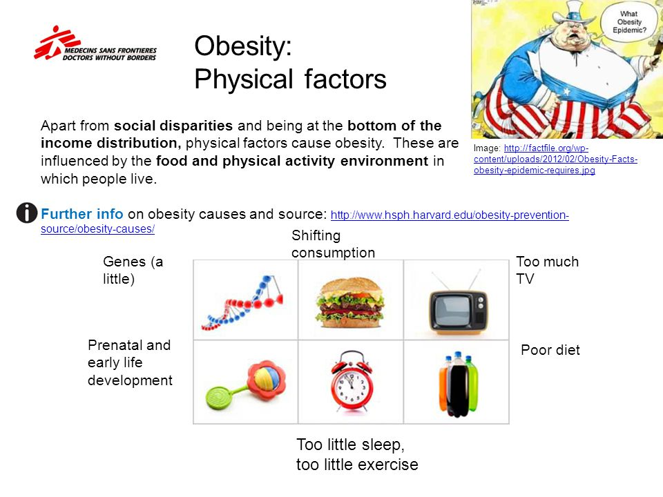 Obesity: Physical factors Apart from social disparities and being at the bottom of the income distribution, physical factors cause obesity. These are