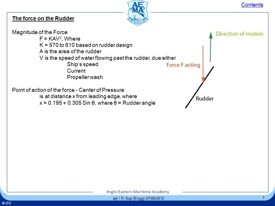 Click to edit Master title style Click to edit Master text styles – Second level Third level – Fourth level » Fifth level 3 Anglo-Eastern Maritime Academy ©  Anglo-Eastern Maritime Academy 3 ©  Anglo-Eastern Maritime Academy 3 ajit / Tr Sup (Engg) 07/08/2012 The force on the Rudder Contents Magnitude of the Force F = KAV 2, Where K = 570 to 610 based on rudder design A is the area of the rudder V is the speed of water flowing past the rudder, due either Ship's speed Current Propeller wash Point of action of the force - Center of Pressure is at distance x from leading edge, where x = 0.195 + 0.305 Sin θ, where θ = Rudder angle