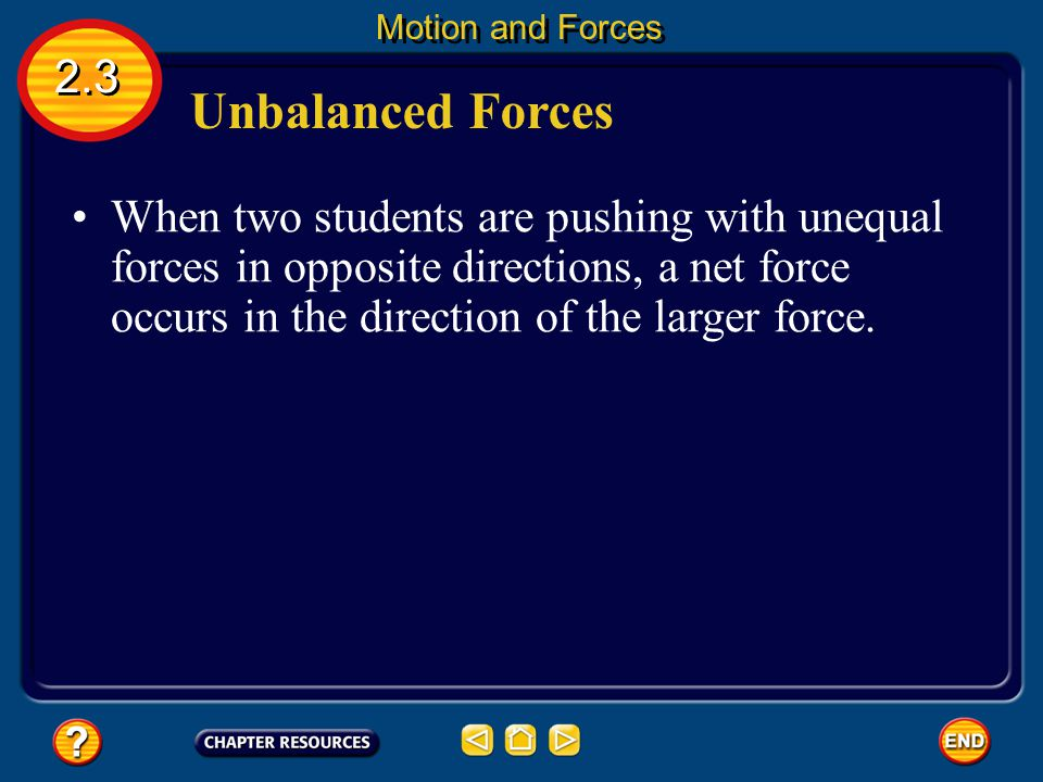 Balanced Forces The net force on the box is zero because the two forces cancel each other.