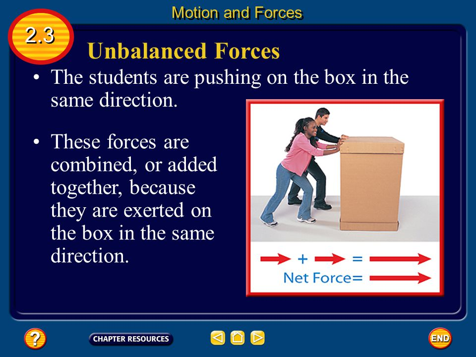Unbalanced Forces 2.3 Motion and Forces They are considered to be unbalanced forces.