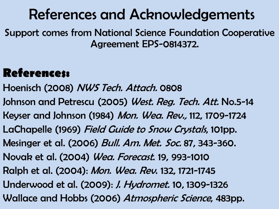 References and Acknowledgements Support comes from National Science Foundation Cooperative Agreement EPS-0814372.