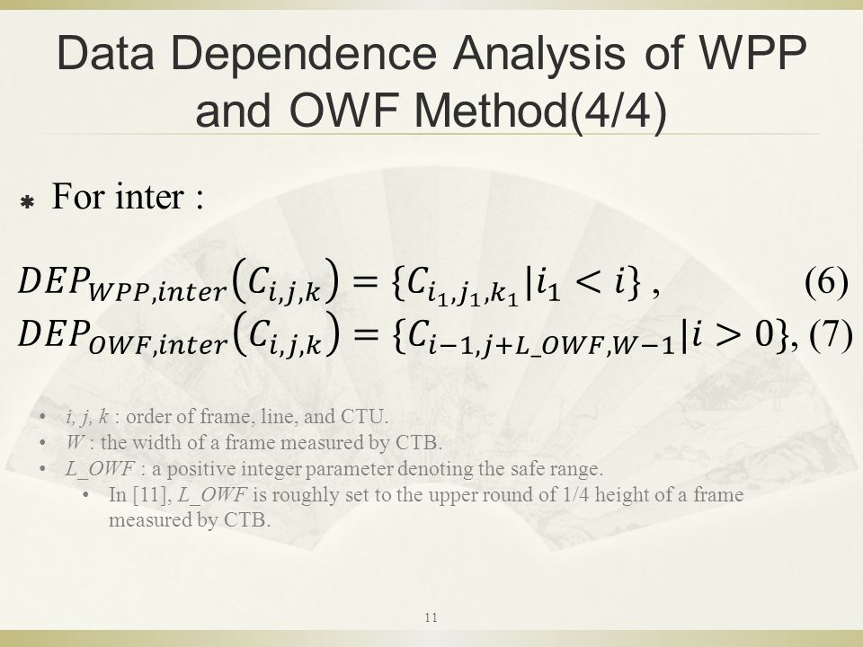 Data Dependence Analysis of WPP and OWF Method(4/4)  For inter : i, j, k : order of frame, line, and CTU.