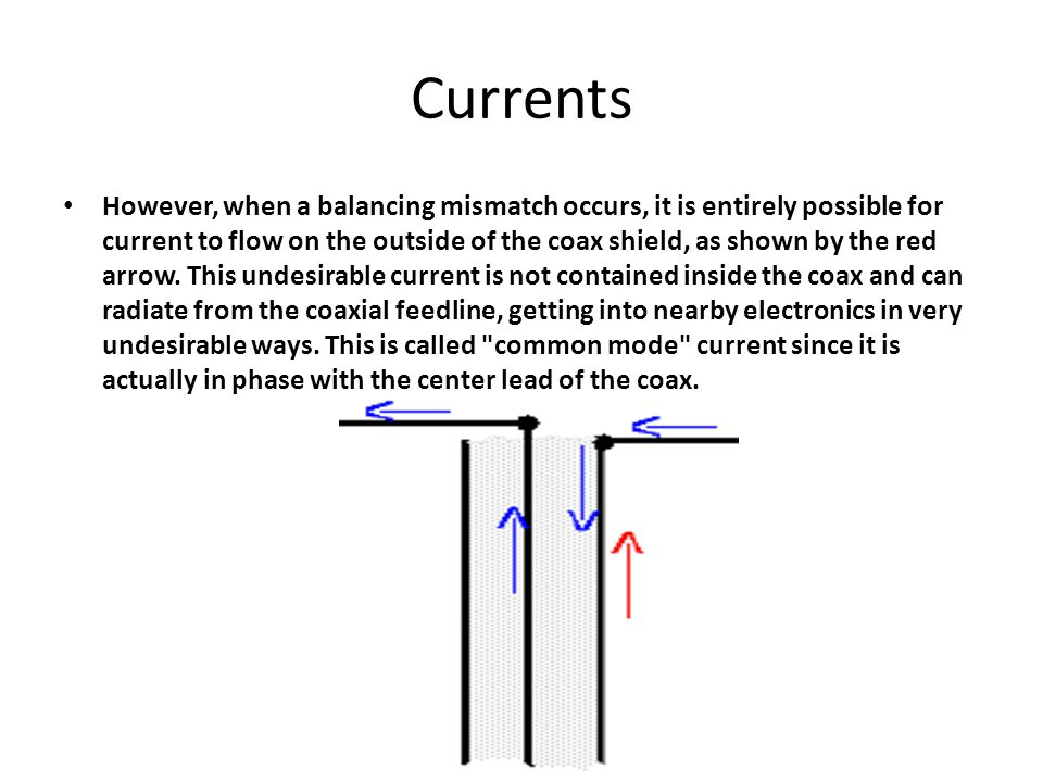 Currents However, when a balancing mismatch occurs, it is entirely possible for current to flow on the outside of the coax shield, as shown by the red arrow.