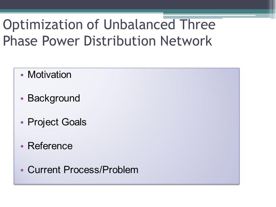Optimization of Unbalanced Three Phase Power Distribution Network Motivation Background Project Goals Reference Current Process/Problem Motivation Bac