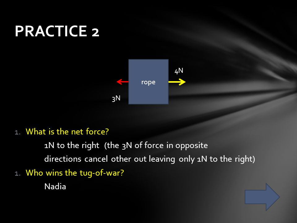 1.What is the net force? 1N to the right (the 3N of force in opposite directions cancel other out leaving only 1N to the right) 1.Who wins the tug-of-