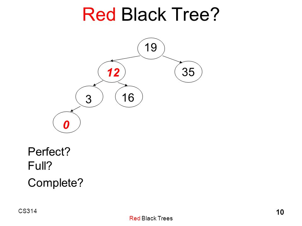 CS314 Red Black Trees 10 Red Black Tree 19 12 35 3 16 0 Perfect Full Complete