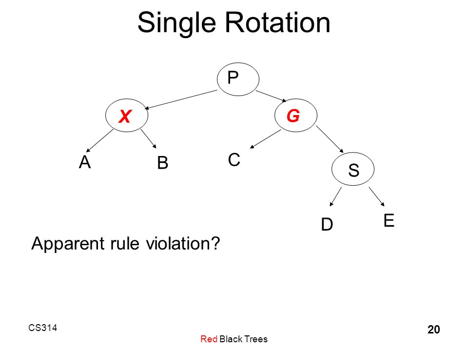 CS314 Red Black Trees 20 Single Rotation P X G S C A B E D Apparent rule violation