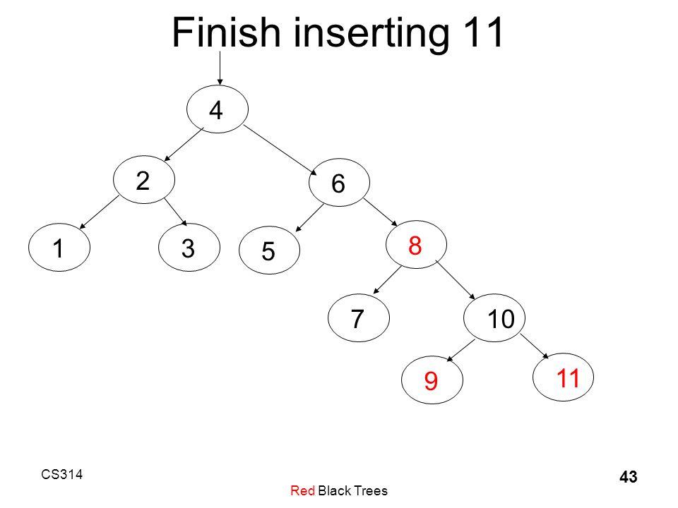 CS314 Red Black Trees 43 Finish inserting 11 4236581710911