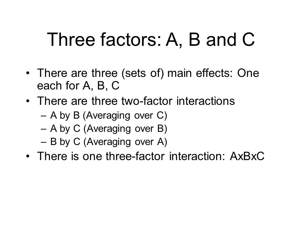 Three factors: A, B and C There are three (sets of) main effects: One each for A, B, C There are three two-factor interactions –A by B (Averaging over
