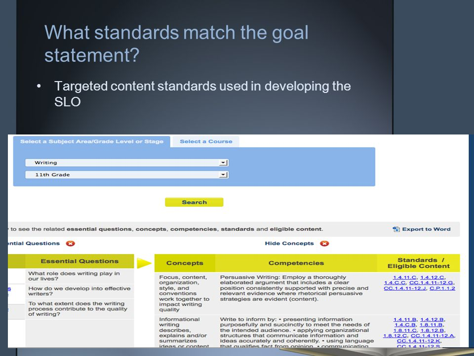 What standards match the goal statement? Targeted content standards used in developing the SLO