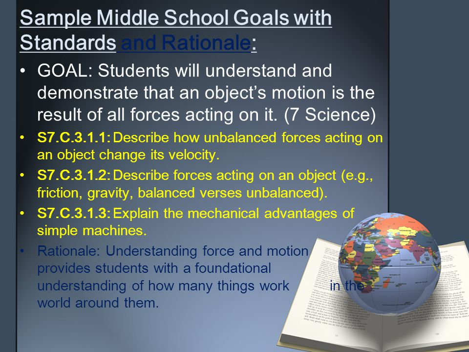 Sample Middle School Goals withStandards and Rationale : GOAL: Students will understand anddemonstrate that an object's motion isthe result of all for