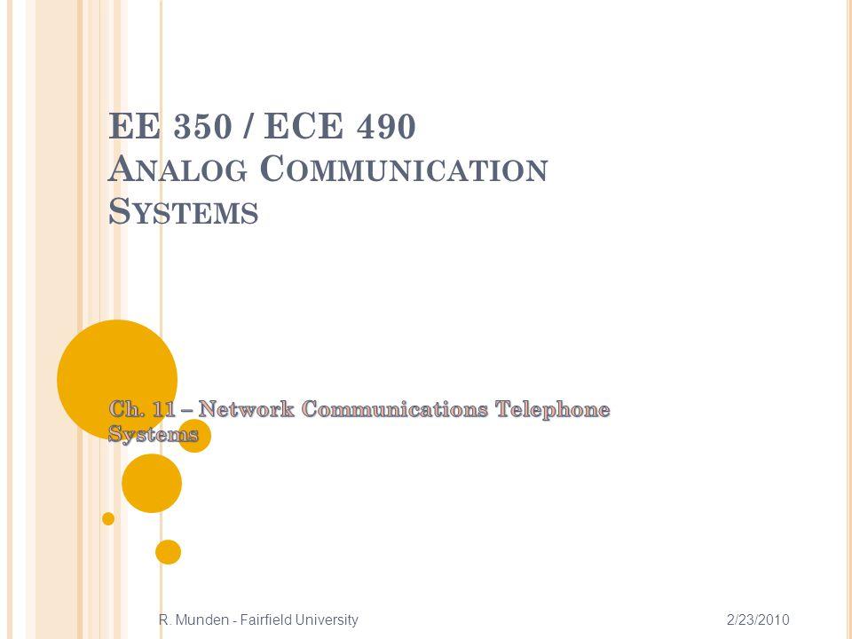 EE 350 / ECE 490 A NALOG C OMMUNICATION S YSTEMS 2/23/2010R. Munden - Fairfield University 1